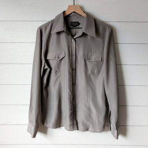 Pendleton Silky Button Down Front Pocket Blouse 14